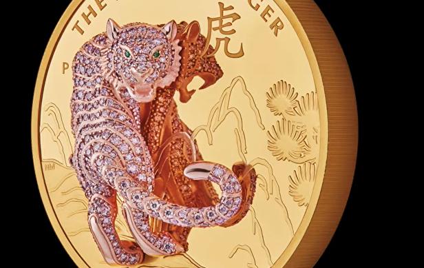 Монета инкрустированный тигр
